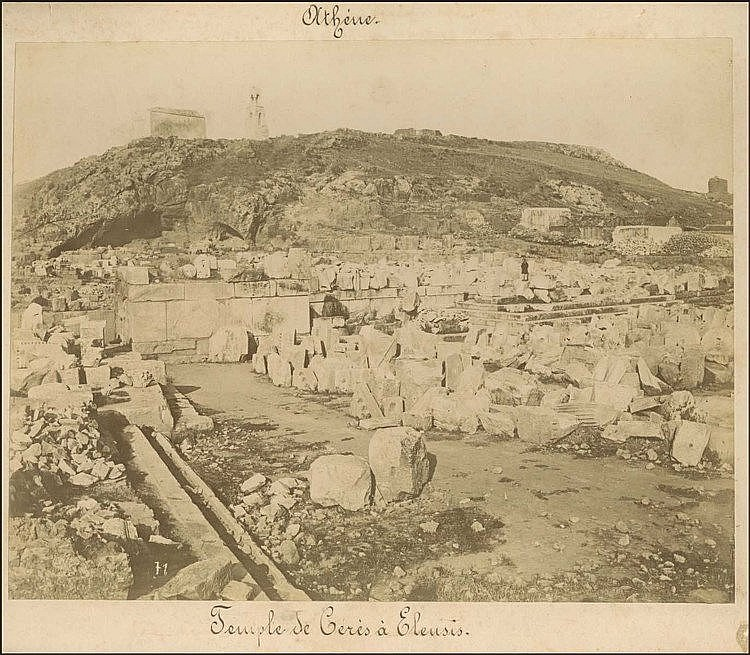 ΕΛΕΥΣΙΝΑ - ELEUSIS c.1880. Large albumen photograph of the Archaeological Site of Eleusis, numbered