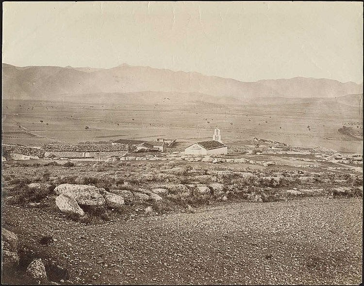 Mycenae. Two (2) scarce albumen photos c.1880, presenting views of Mycenae plain and antiquities. Dim.24.5x19.5cm & 17.5x13cm.