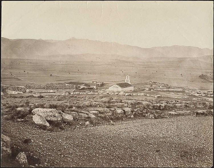 Mycenae. Two (2) scarce albumen photos c.1880, presenting views of Mycenae plain and antiquities. Dim.24.5x19.5cm & 17.5x13cm.