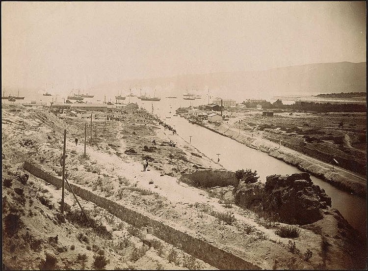 Διώρυγα της Κορίνθου - Corinth Canal. Scarce early albumen photo c.1890. Panoramic view. Photo dim.25.5x19cm.