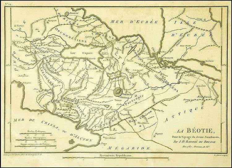 LA BEOTIE Pour le Voyage du Jeune Anacharsis Par J.D.BARBIE DU BOCAGE. Mai 1787 Pluviose An VIe/P.F.Tardieu... /L.Aubert sculpist copper plate map by Barbie Du Bocage from Barthelemys