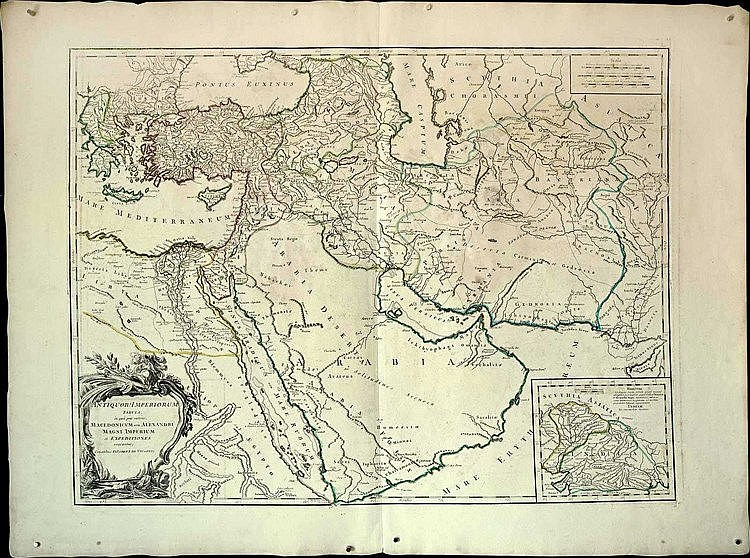 "[Alexander the Great] VAUGONDY P., ""Antiquor? Imperiorum Tabula, in qua prae coeteris, Macedonicum seu Alexandri Magni Imperium et expeditiones exarantur…"", c.1760. Impressive map (63x48cm) of the expeditions of Alexander the Great"