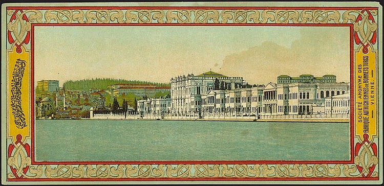 Constantinople - Dolmabahce Palace. Fine lithographic vignette,