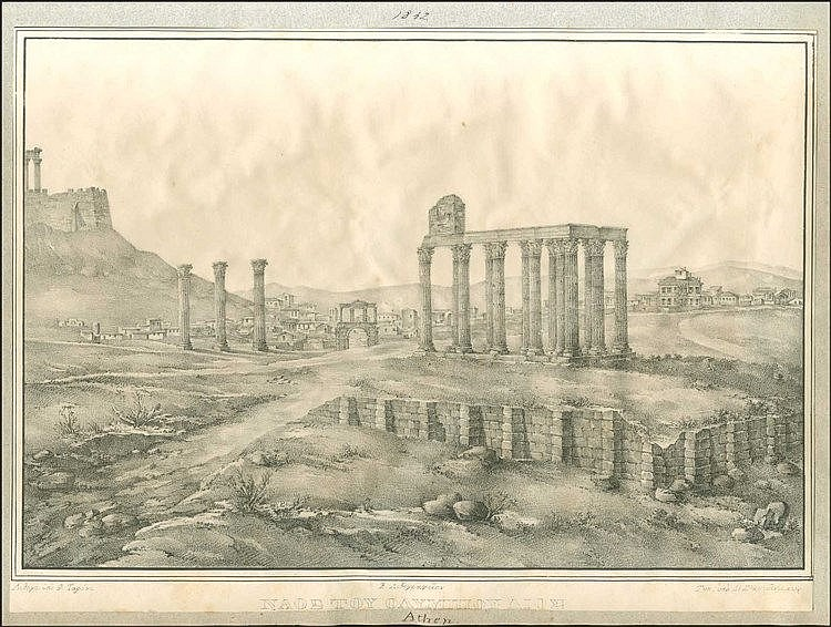 TARONE F., Lithograph view of The Temple of Olympius Zeus, Athens, Athens Royal Lithography n.d., [1837-1841], 33x23cm.  First known lithograph view of antiquities of Athens, lithographed and printed in Athens.