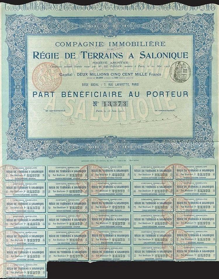 Copagnie IMMOBILERE REGIE DE TERRAINS A SALONIQUE, Part Beneficiaire au porteur, issued in Paris on 1905, printed in Paris with 31 coupons attached. Pinholes and marginal tear.