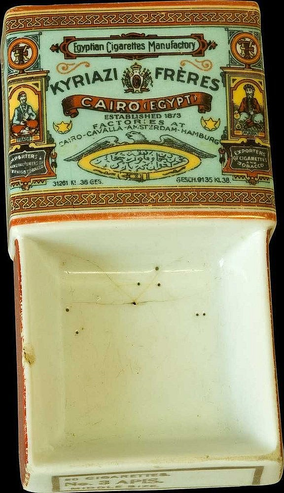 KYRIAZI FRERES Ceramic Advertising Ashtray c.1900. Dim. 13.5x7x3cm. Light cracks and small chipped piece. Scarce.