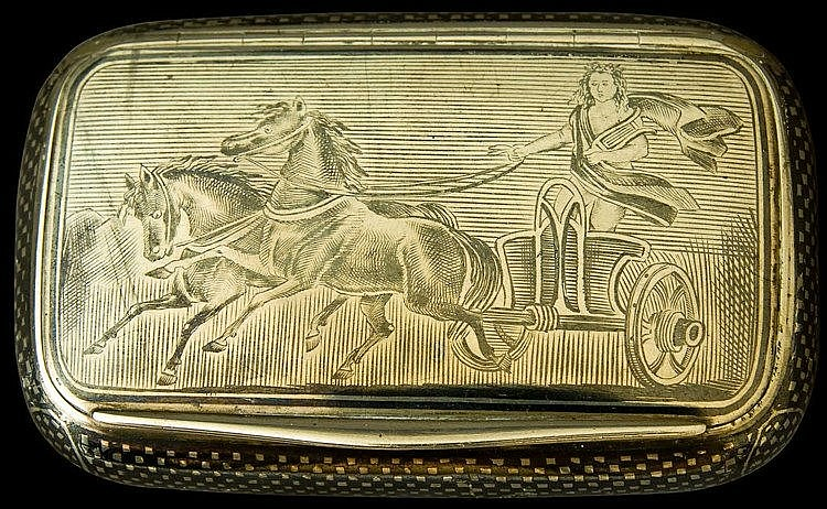 Silver and Niello Cigarette Case end of 19th cent. An antique silver case with an excellent niello view of an ancient Greek style chariot and rider on face and geometrical designs on reverse. Weight: 90 grams. Length: 9.5cm, width: 6 cm. Marked insid