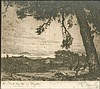 Francesco MENNYEY (1889-1950), RHODES - ΡΟΔΟΣ. Scarce copper engraving with signature in pencil and caption