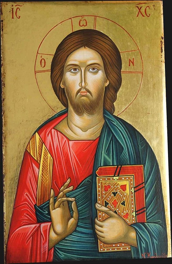 Icon of Jesus Christ Pantocrator. Painted on an almost 80-years old wood (35 X 22 cm). Artist: Nayia Kaplanidou.