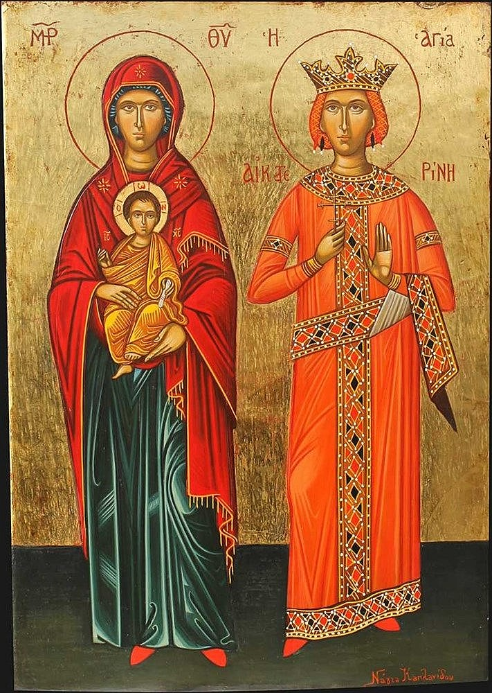 Icon of Mother Mary and Saint Catherine (35 x 24 cm). Artist: Nayia Kaplanidou.