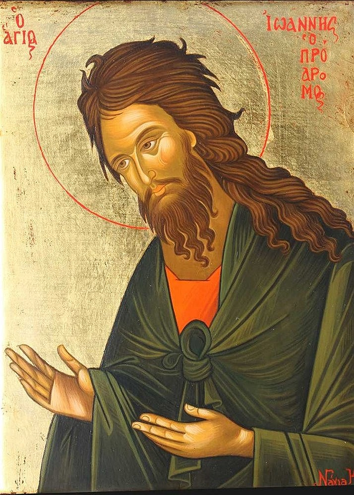 Icon of Saint John the Baptist (deisis) (25 x 19 cm). Artist: Nayia Kaplanidou.
