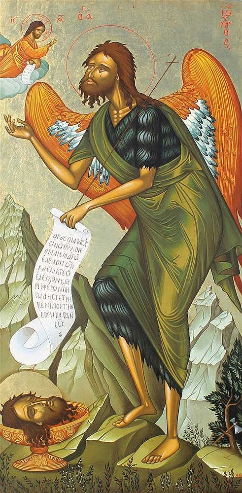 Icon of Saint John the Baptist (78 X 40 cm). Painted on an almost 80-years old wood. Artist: Nayia Kaplanidou.
