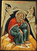 Icon of Prophet Elijah. Painted on an almost 80-years old wood (30 X 21 cm). Artist: Nayia Kaplanidou.