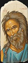 "Icon of Saint Simeon ""the God Receiver"" on Driftwood (36 X 16 cm). Artist: Nayia Kaplanidou."