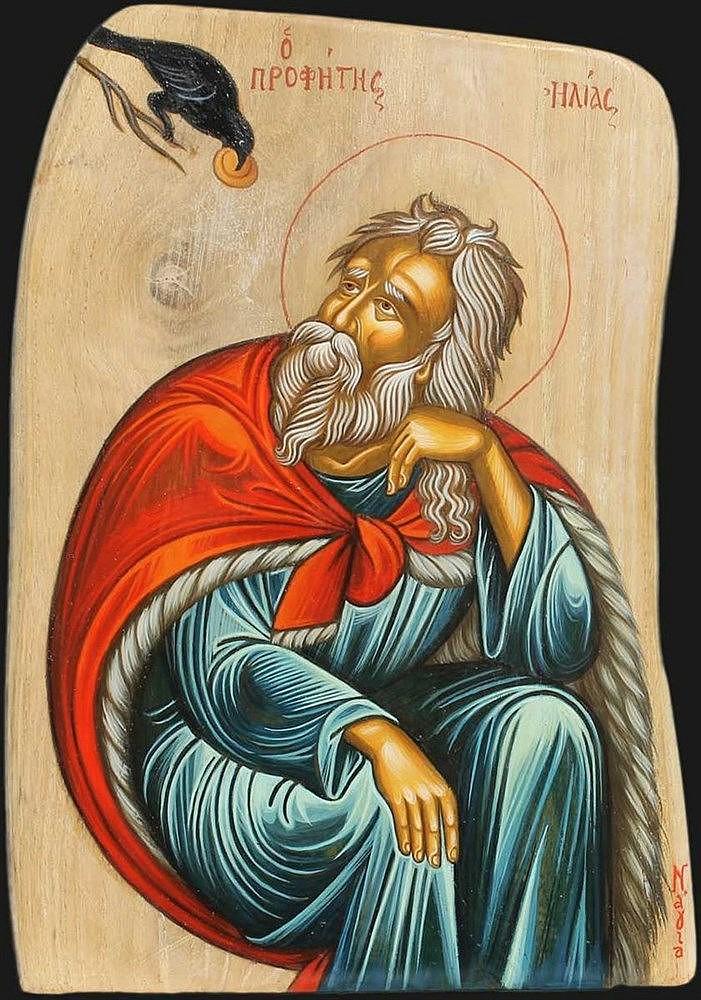 Icon of Prophet Elijah (28 X 20 cm), on Driftwood. Artist: Nayia Kaplanidou.