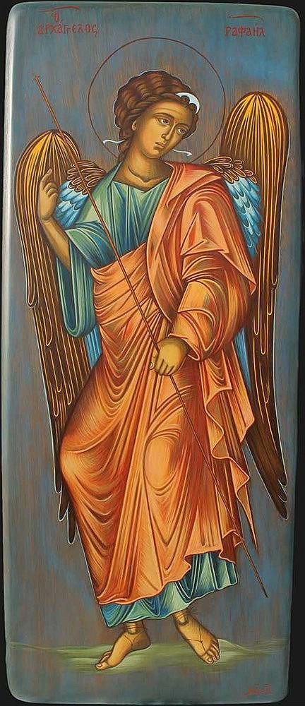 Icon of Archangel Rafael(66 x 28 cm), on Driftwood. Artist: Nayia Kaplanidou.