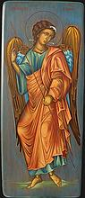 Icon of Archangel Rafael (66 x 28 cm), on Driftwood. Artist: Nayia Kaplanidou.