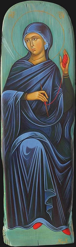 Icon of Mother Mary in the scene of Annunciation. (59 x 17 cm), on Driftwood. Artist: Nayia Kaplanidou.