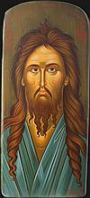 Icon of Saint John the Baptist  (31 X 15 cm), on Driftwood. Artist: Nayia Kaplanidou.