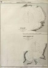 British Admiralty, Plans of the Gulf of Xeros (Thrace), London 1893. First edition and proof state of these charts of Thracian coastline. Lithographed chart 68x49cm, containing two charts, in very...