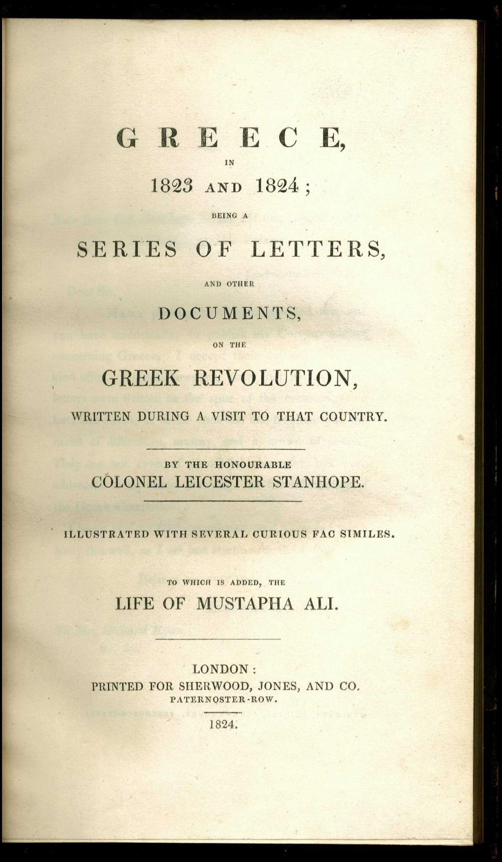 """STANHOPE Colonel Leicester, """"GREECE in 1823 and 1824: being a series of letters and other documents on the Greek... - Greece - PHILHELLENISM /"""