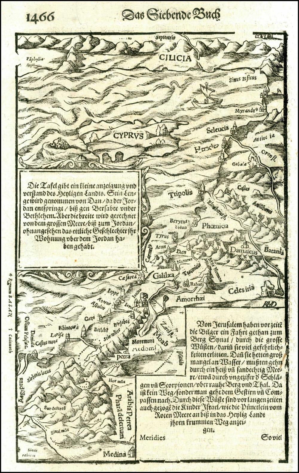 MUNSTER S., [CYPRUS & the HOLY LAND], 1544-1572. Attractive full page map (26x17cm) of the Holy Land dominated with a... - CYPRUS COLLECTABLES