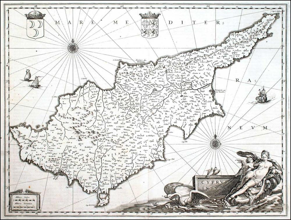"""JANSSONIUS J., """"Cyprus Insula"""",1638 - c.1680. The map is based on Ortelius map of Cyprus printed in 1573, and the... - CYPRUS COLLECTABLES"""