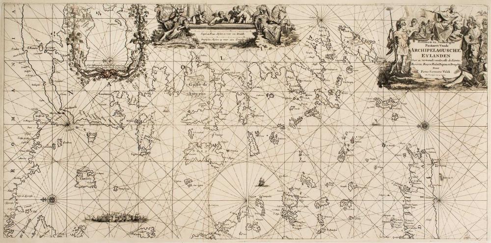 """DONCKER Hendrick, """"Pertinente en Naukeurighe Paskaert Vande ARCHIPELAGUSCHE EYLANDEN Waer in vertoondt werden alle de... - Greece - MAPS OF GREAT RARITY"""