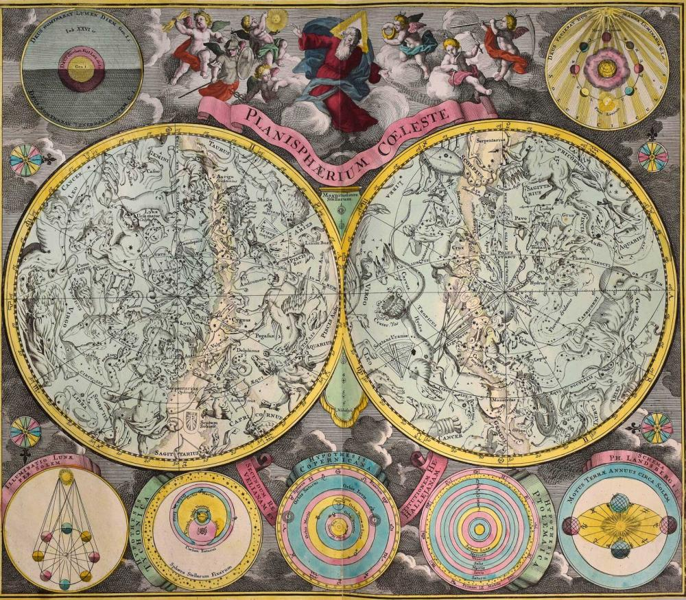"""SEUTTER Matthaus, """"Planisphaerium Coeleste"""", c. 1730. Double-page engraved Celestial Chart of the northern and southern... - Greece - MAPS OF GREAT RARITY"""