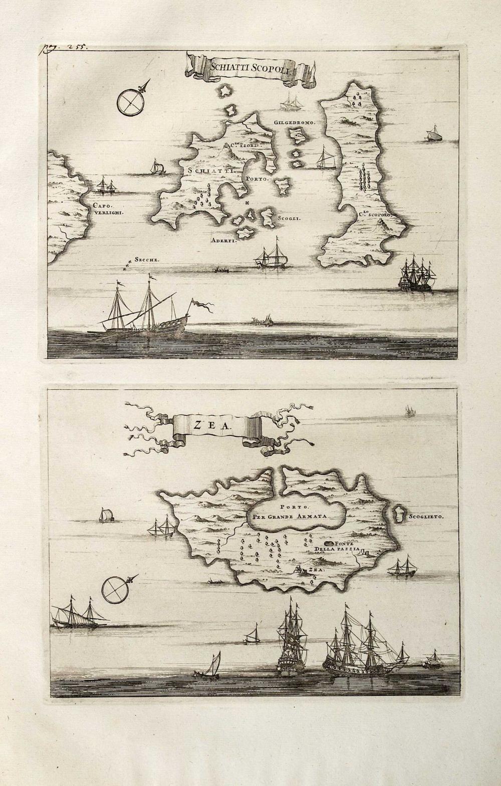 """[Σκιάθος–Σκόπελος/Κέα] DAPPER Olfert, """"Schiatti Scopoli"""" & """"Zea"""", 1703. Two (2) maps... - Greece - Aegean / SPORADES"""