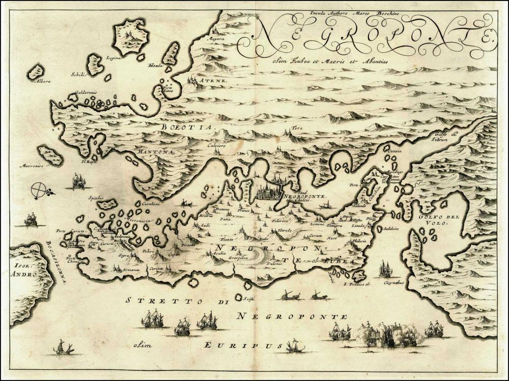"BOSCHINI Marco, Dapper Olfert ""Negroponte/ Insula Authore Marco Boschino"", 1688. Copper engraved double page map of... - Greece - Aegean / EUBOEA"