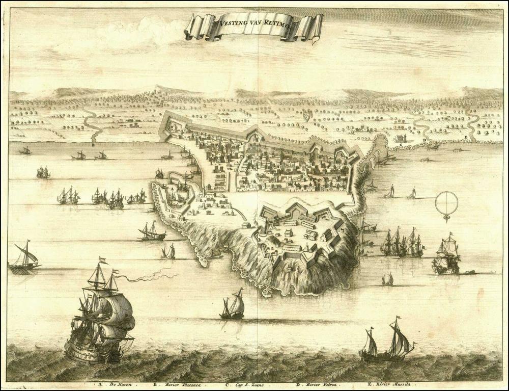 "DAPPER O., ""Vesting van Retimo"", 1688. Stunning bird-eye view of Rethymno (Ρέθυμνο) from Dapper's ""Naukeurige... - Greece - / CRETE"