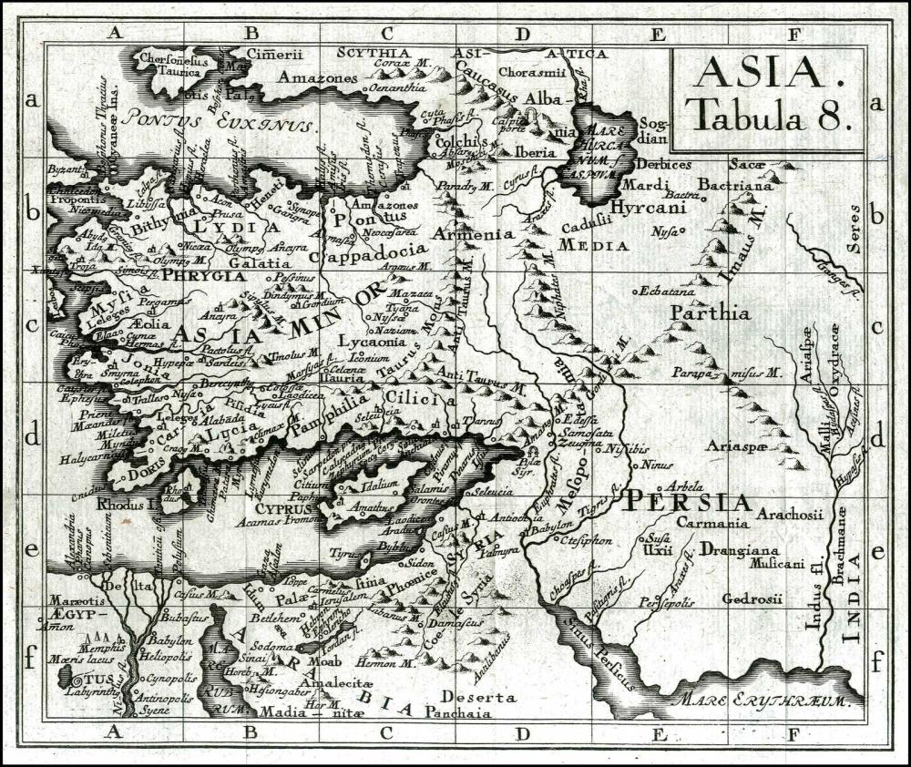 """DESING P. Ancelmus, """"ASIA Tabula 8"""", 1758. Issued only once in Desings """"Index Poeticus"""" in 1758. Rare map extending... - Greece - / ASIA MINOR"""
