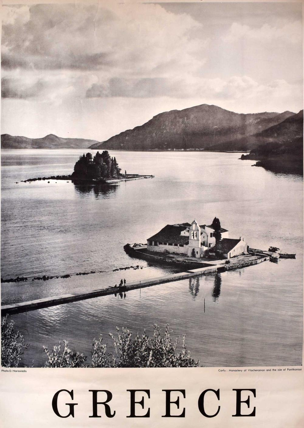 "D. Harissiadis / Δ. Χαρισιάδης. ""GRECE / Corfou: Monastere des Vlacherainon et ile Pontikonisi"". Travel poster... - Greece - / POSTERS"