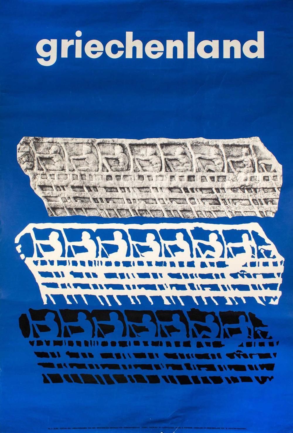 """[ΚΑΤΖΟΥΡΑΚΗΣ Μ.]""""GRIECHENLAND"""", No 3 - 20.000 – Januar1962 -Herausgegeben von der Griechischen... - Greece - / POSTERS"""