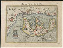 Ortelius A., 1577-1609, miniature map of CORFU, Greece