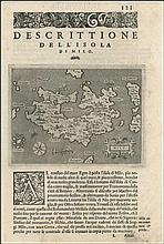 PORCACCHI, Padova, 1576, map of MILOS island, Greece