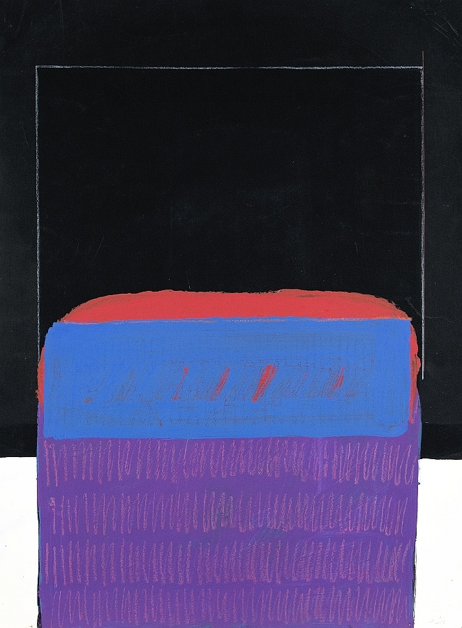 Komposition mit blauem Feld