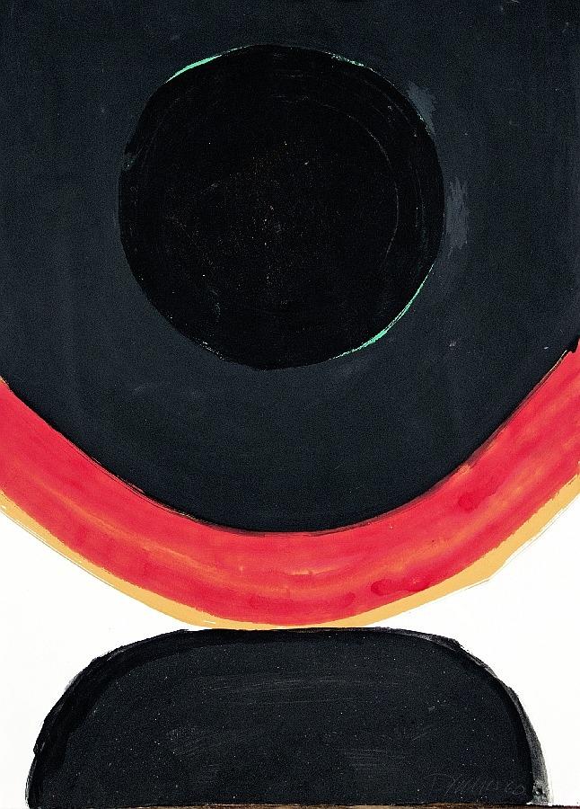 Komposition mit rotem Bogen