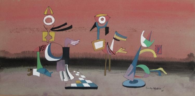 Surrealistische Komposition mit Schachfeld