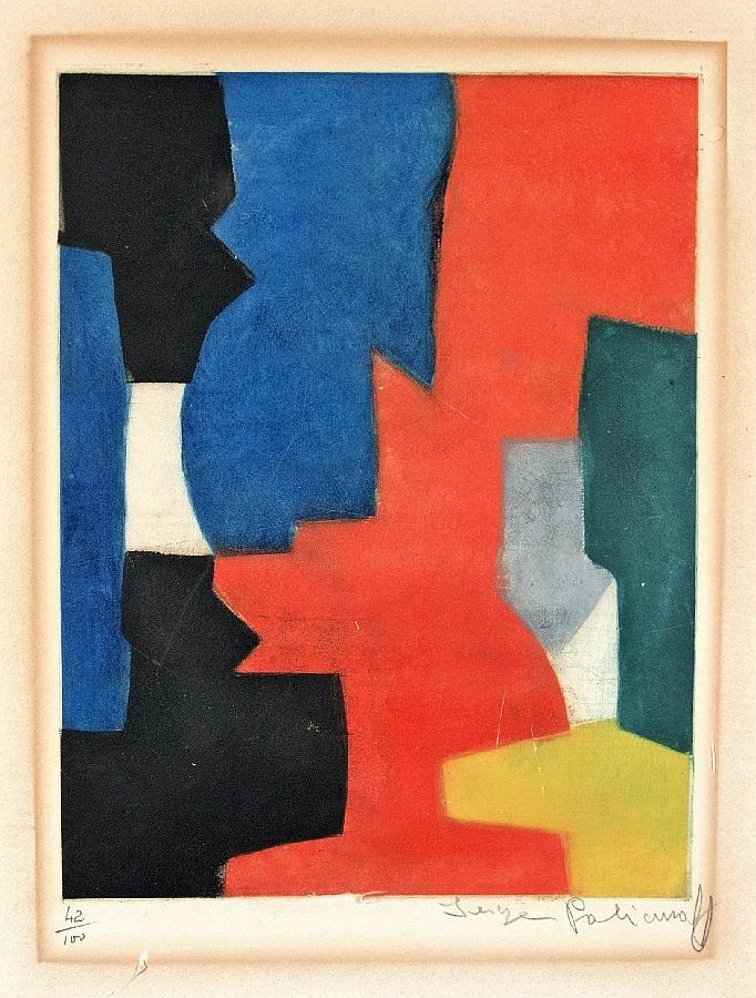 Komposition mit Rot und Blau
