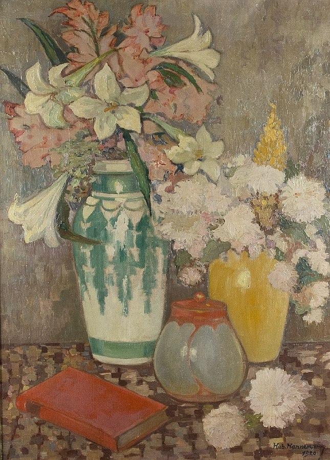 Blumenstilleben mit Gefäßen und Buch