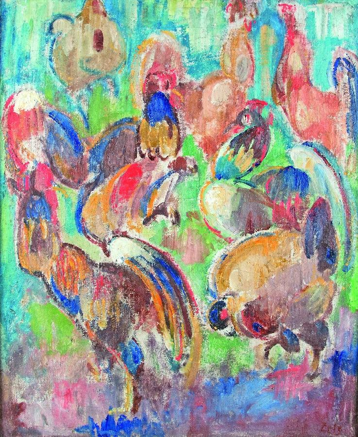 Komposition mit Hähnen und Hennen