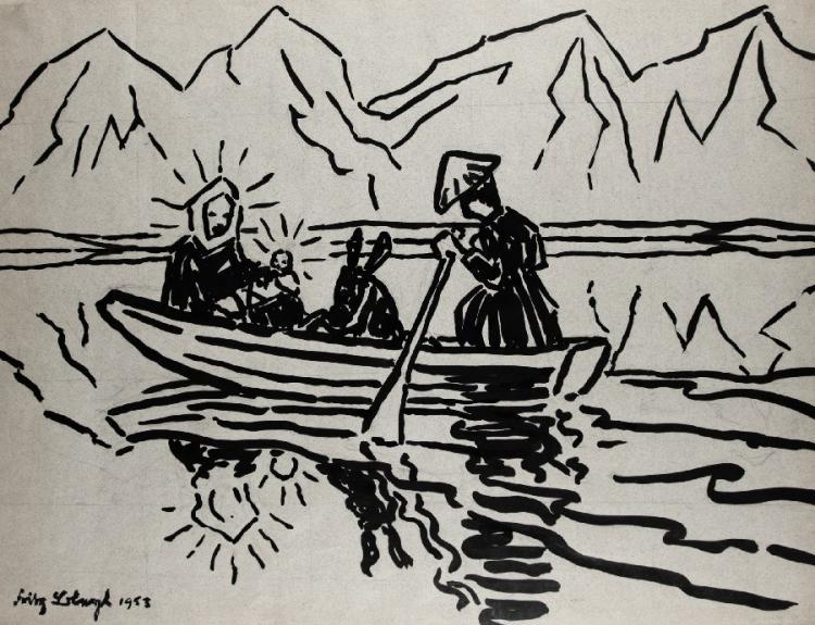 Die Heilige Familie im Boot