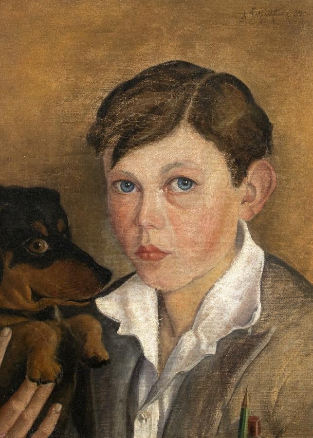 Bildnis eines Jungen mit Dackel