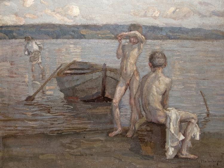 Badende Knaben am Seeufer