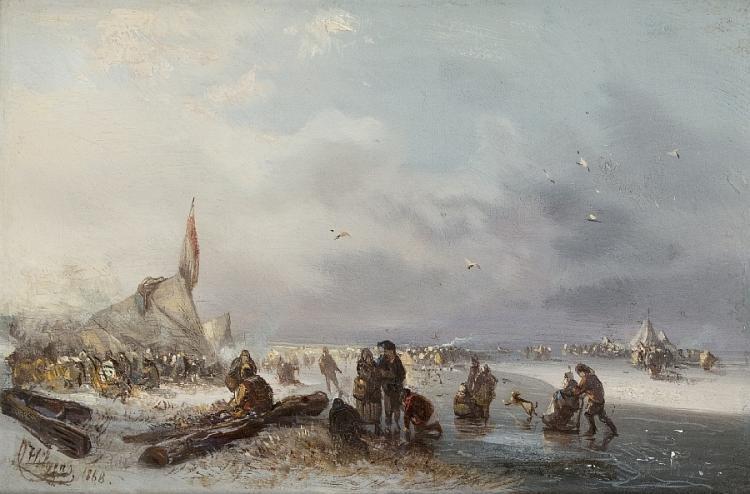 Lebhafte Szene auf dem Eis