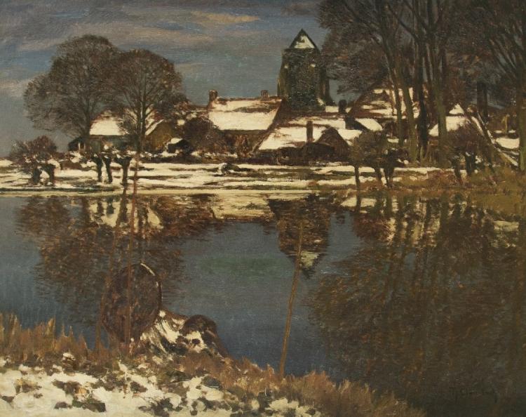 Winter vor dem Dorf