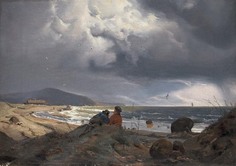 Aufziehendes Gewitter an der Küste