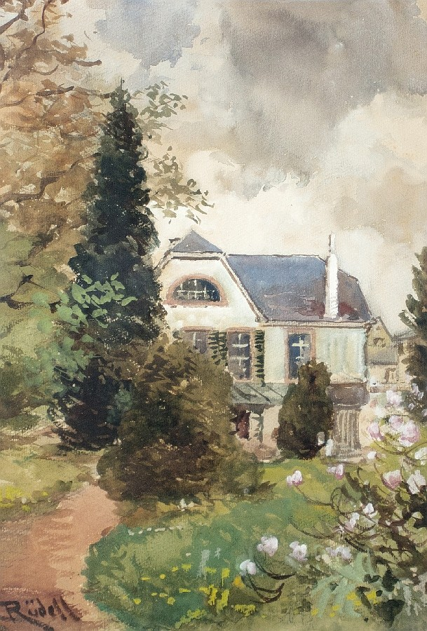 Die Gartenseite eines Landhauses